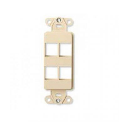 Leviton 40754-BW QuickPort Decora 4-Port Wallplate Insert