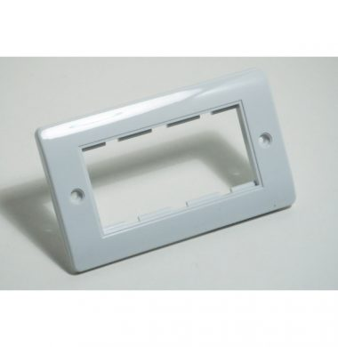 White Plastic Double Gang 4 Module Euro Faceplate