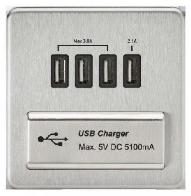 Kinightsbridge 1 Gang-Quad USB Charger