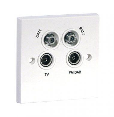 Labgear PSW241M FM-DAB Quadplexed TV Sat Plate – White